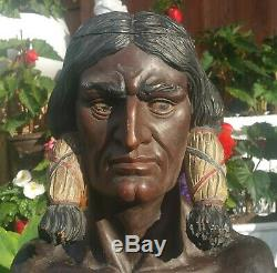 NYC CIGAR STORE INDIAN statue vtg tobacco antique american folk art sign sioux