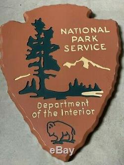 National Park Service Wood Arrowhead Sign USFS Vintage Wooden Plaque SUPER RARE