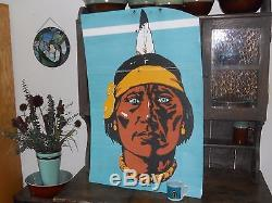 Navajo Freight Lines Original Metal Sign Trailer Art Blue Eyed Indian Vintage