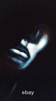 Nude in dark Chiaroscuro Vintage Style Original Oil Painting Black Velvet J327h