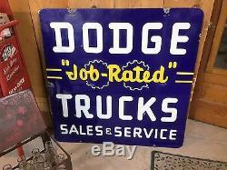 OLD VINTAGE DODGE JOB RATED TRUCK PORCELAIN SIGN DEALERSHIP ADVERTISING NEON N