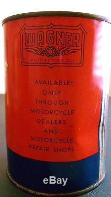 Old Vintage Full Wagner Motorcycle Metal Quart Oil Can Tin Sign Gas Harley Hd