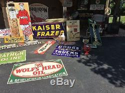 Old Vintage Original Kaiser Frazer Porcelain Neon Dealership Advertising Sign