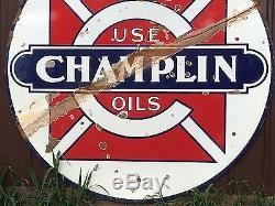 ORIGINAL CHAMPLIN Vintage PORCELAIN Gas Oil SIGN Display LARGE OLD BARN HANGER