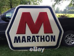 Original Huge Old Vintage Marathon Oil Gas Sign, Deep Rich Dark Colors 7' X 6