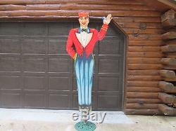 ORIGINAL VINTAGE 1950's ROADSIDE ANIMATED ADVERTISING SIGN Drive-in, gas station
