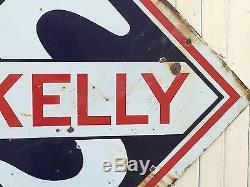 ORIGINAL VinTaGE SKELLY PORCELAIN Gas Oil SERVICE STATION Pump SIGN Large OLD
