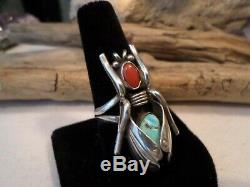 Old Pawn Sterling Vtg Navajo GRASSHOPPER Turquoise Ring Signed LJ, Leonard Jim