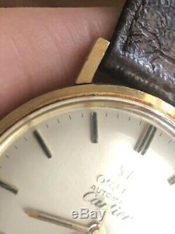 Omega Vintage 18k Seamaster DeVille Original Cartier Signed Dress Watch