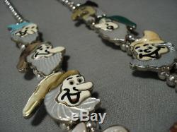 Opulent Vintage Navajo Zuni Turquoise Sterling Silver Squash Blossom Necklace