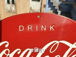 Original 1940 Old Vintage Rare Coca Cola Ice Cold Ad Porcelain Enamel Sign Board