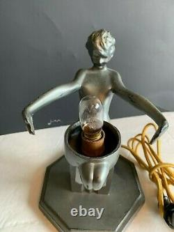 Original American Art Deco Signed Frankart Gunmetal Lamp Seated Nude