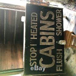 Original Antique 1920's STOP! HEATED CABINS FLUSH & SHOWER wood sign Vintage