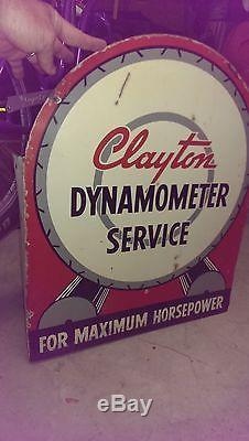 Original Clayton Vintage flange sign gas oil rare double sided race engine