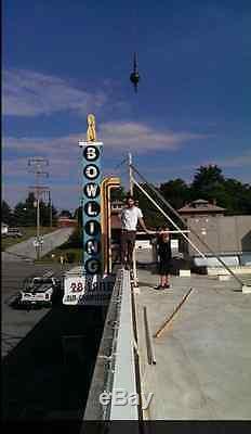 Original Vintage Art Deco Bowling Alley Neon Sign Americana