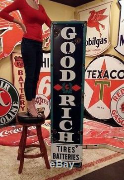 Original Vintage Goodrich Sign Gas Oil Tires Batteries Porcelain 78x18