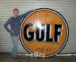 Original Vintage Gulf Gas Porcelain Sign