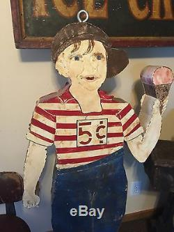 Original Vintage Lighted Boy Holding Cone 5 Cents Ice Cream Trade Sign