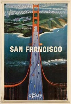 Original Vintage Poster SAN FRANCISCO Airline Travel Golden Gate KOSLOW 1964