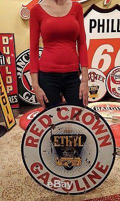 Original Vintage Sign Red Crown Ethyl Gasoline Double Sided Porcelain 30 Dia