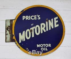 Original Vintage c1920'sPrice's Motorine Motor Oil Double Sided Enamel Sign