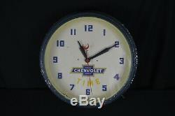 Original vintage CHEVY TIME Chevrolet neon dealership clock sign
