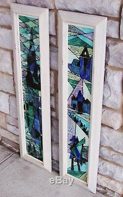 PAIR Signed Harris Strong Mid Century Abstract Tile Painting Art VTG/Antique