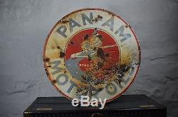 PAN AM motor oil porcelain sign from American Pickers vintage old antique