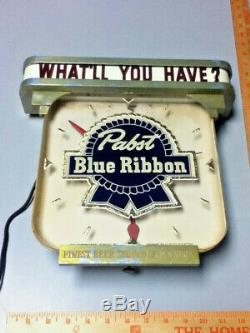 Pabst beer sign vintage metal reverse painted glass ROG lighted bar clock light