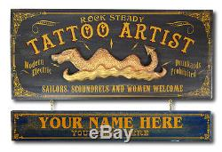 Personalized TATTOO ARTIST Vintage Wood Plank Sign, Office, Home, Man Cave Gift