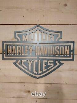 Premium HARLEY DAVIDSON MOTORCYCLE Logo Metal Sign Hand Finished Wall ART BIKE