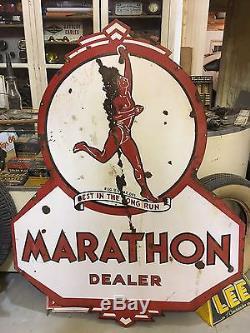 RARE ORIGINAL MARATHON DEALER Running Man Vintage PORCELAIN sign GAS oil DSP OLD