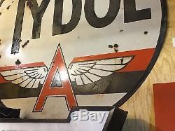 RARE ORIGINAL Vintage 6 Ft. TYDOL FLYING A PORCELAIN pole sign GAS oil Station