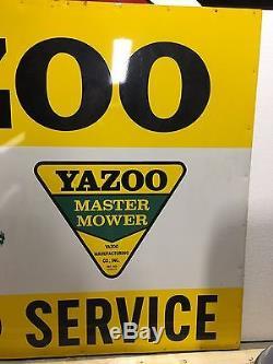 RARE ORIGINAL Vintage YAZOO MASTER MOWER SALES & SERVICE Sign Lawn Yard LARGE