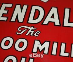 RARE Old Vintage Metal Enamel Kendall Motor Oil 2000 Mile Sign 2-sided WithFlange