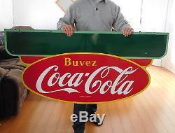 Rare Vintage 1950 P&m Large 58x28 Double Sided Porcelain Coca Cola Sign Ex Cond