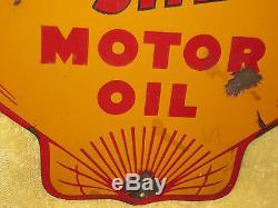 Rare Vintage Original Golden Shell Gas Station Motor Oil Porcelain Vintage Sign