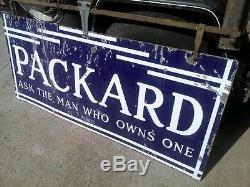 RARE VINTAGE PACKARD & HANGING BRACKET DOUBLE SIDED PORCELAIN SIGN 1920s 1930s