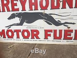 RARE VINTAGE SUPER GREYHOUND MOTOR FUEL GAS AND OIL PORCELAIN SIGN 3ft X 5ft