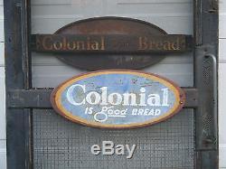 Rare Vtg General Store Door Push Pull Colonial Bread Signs Restaurant Decor