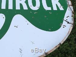 RARE! VinTagE SHAMROCK Gas Oil Station Garage DSP Double Sided PORCELAIN 6' Sign