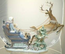 RARE Vintage 1989 Lladro #1492 Winter Wonderland Glazed Porcelain Sleigh SIGNED
