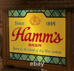 RARE Vintage HAMM'S BEER SCENE-O-RAMA With CLOCK CAMPFIRE WATERFALL MOTION SIGN