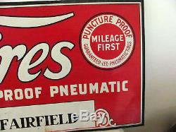 RARE Vintage Lee Tires Gas Station Tin Tires Advertising Sign Smiles at Miles