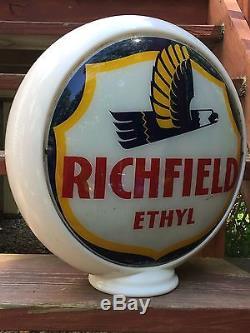 RARE Vintage Original RICHFIELD ETHYL Milk Glass Body Gas Station Globe Sign