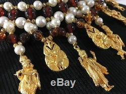RARE Vintage Signed MIMI di N Spectacular Bib Necklace Egyptian Revival Runway
