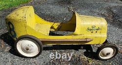 RaRe BMC Special 8 Race Pedal Car Garage Sign VTG Rat Hot Rod Old Display