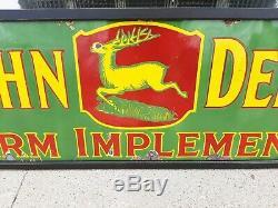 Rare 1920s Vintage John Deere Porcelain Sign Farm Tractor Plow Gas Oil Garage