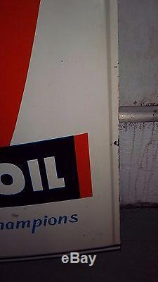 Rare 1965 Original Vtg Oilzum Motor Oil Can Champion Tin Sign Gas Station Dealer