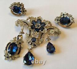Rare Crown Trifari Signed Empress Sapphire Blue Rhinestone Brooch & Earrings